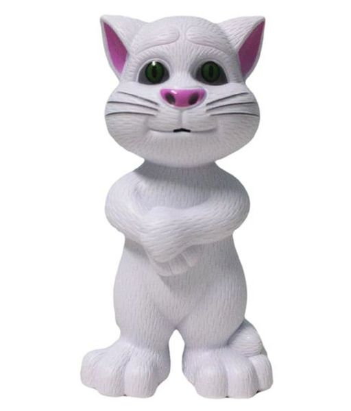 Inteligent cute white tom cat with touch recording story & music