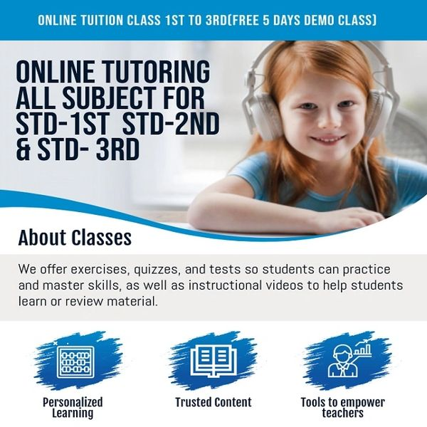 ONLINE TUITION FOR CLASS 1ST 2ND And 3RD(FREE 5 DAYS DEMO CLASS)