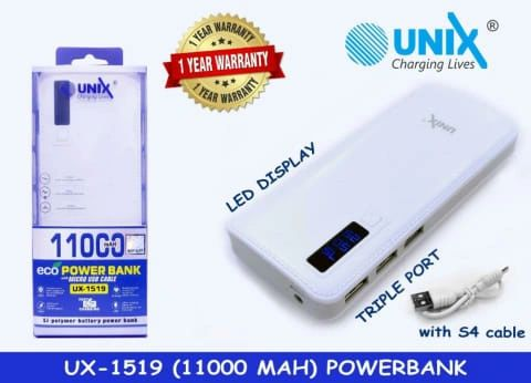 Unix Power Bank 11000 MAH(White)