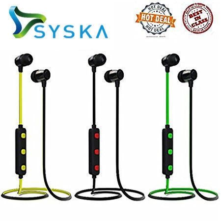 SYSKA Wireless EARPHONES H-15 BlueTooth Headphone(Black)