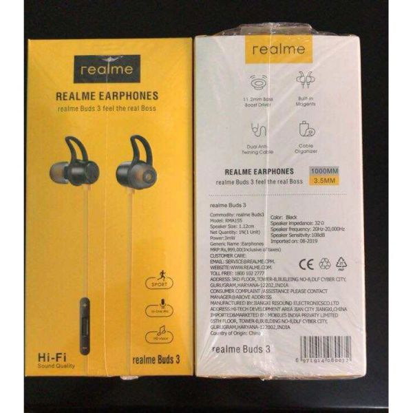 Realme Buds 3 Wired EARPHONE(Black)