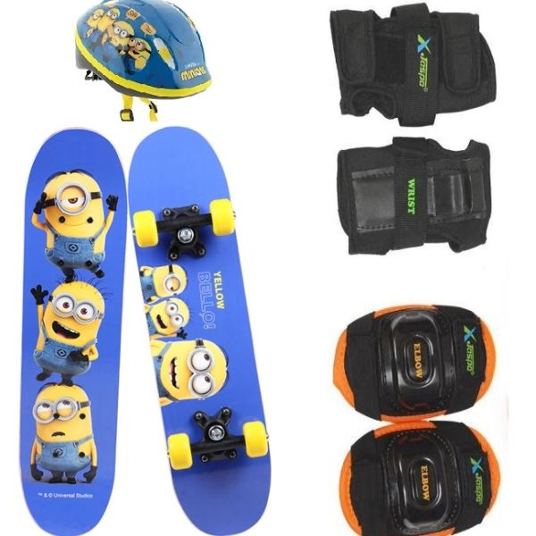 Mions Mini Skateboard for Kids with Skating Kit(helmet+elbow+knee)