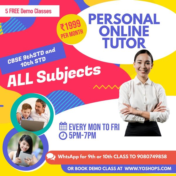 ONLINE TUITION for CLASS 9TH TO 10TH (FREE 5 DAYS DEMO CLASS)