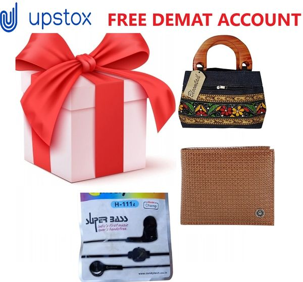 Upstox Free Demat & Trading Account Get Free Gift (Wallet,Bag,Earphone) Value of Rs.999 from Yoshops.com