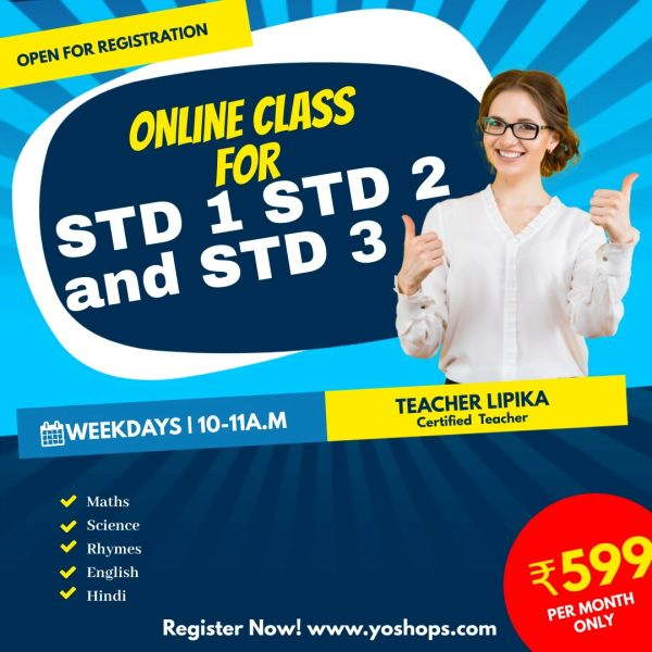ONLINE TUITION FOR CLASS STD 1, STD 2 And STD 3 (FREE 5 DAYS DEMO CLASS)