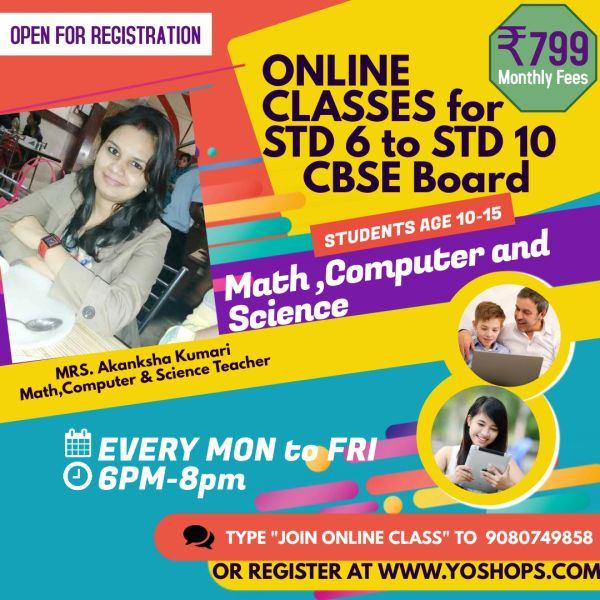 MATHS and SCIENCE ONLINE CLASSES for STD 6 to STD 10 (FREE 5 DEMO CBSE Board)