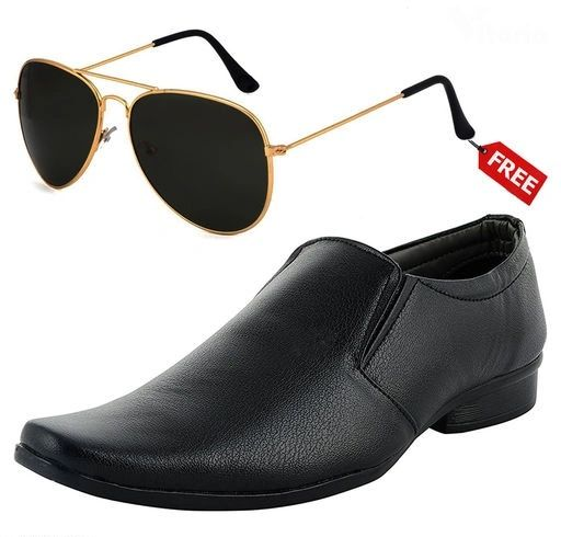 Men Formal Shoes Black Color With Free Sunglasses