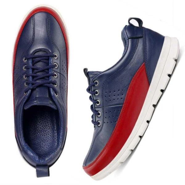 Casual Leather Sneakers for Men (Red+Blue)