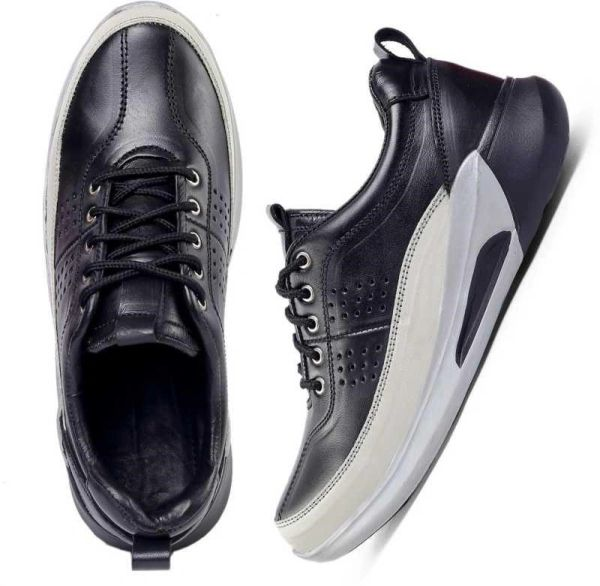 Casual Sneakers Leather for Men (White+Black)