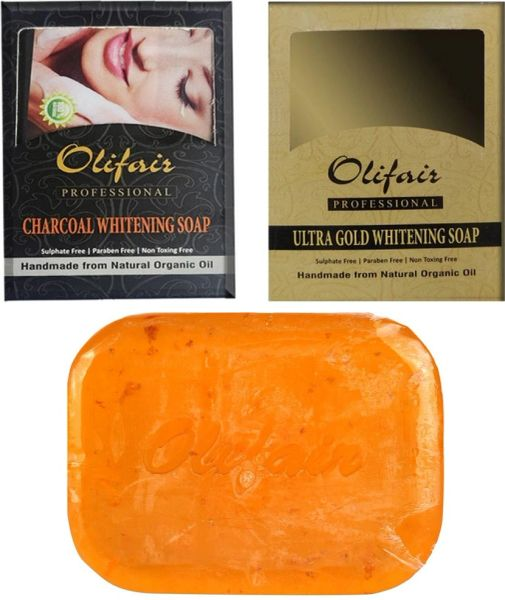 Olifair Gold and Charcoal Whitening Soap (Pack of 2) 200 gm(Riya Fruity Soap Free)
