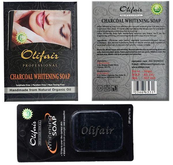 Olifair Charcoal Whitening Soap 120 gm(Riya Fruity Soap Free)