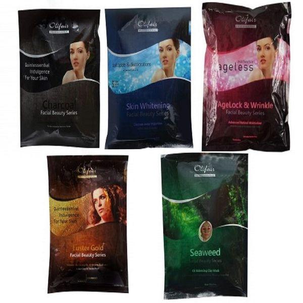 Olifair Facial Kit Combo Pack (Gold, Charcoal, Lightening, Seaweed, Wrinkle) 750 gm(Riya Fruity Soap Free)
