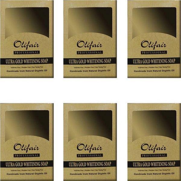 Olifair Ultra Gold Whitening Soap (Pack of 6) 600 gm(Riya Fruity Soap Free)