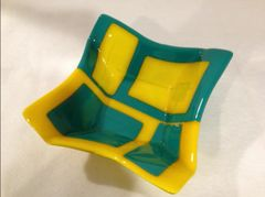 Funky fused geometric serving bowl Teal-Yellow