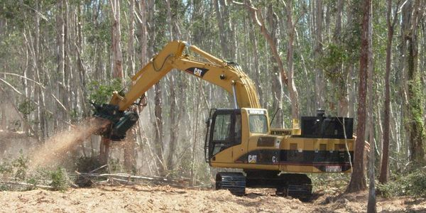 Image of construction machine clearing vegetation