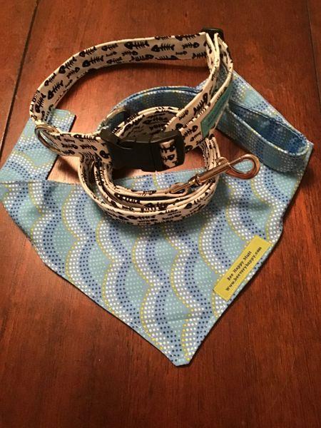 Dog leash , collar , neckerchief Fish bone trio