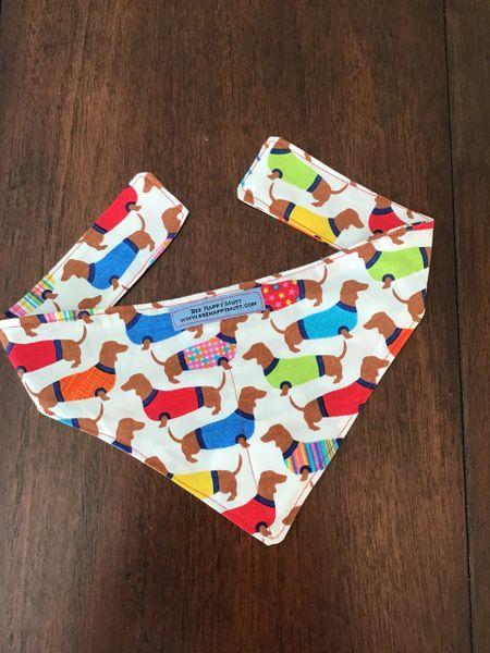 Multi color dachshund dog neckerchief