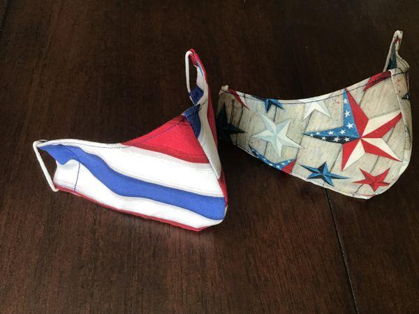 Patriotic Stars OR Stripes cotton face masks,