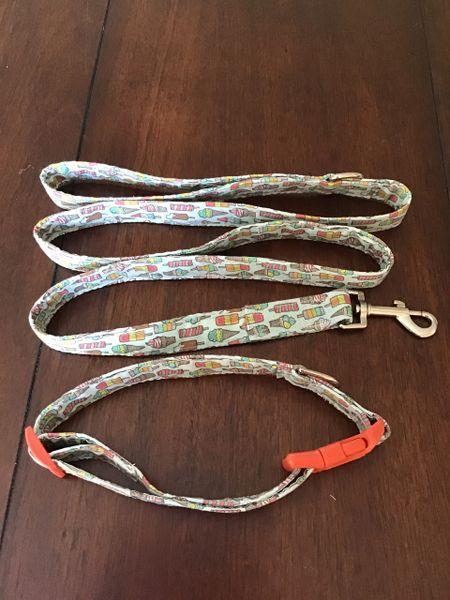 Ice cream dog collar leash set