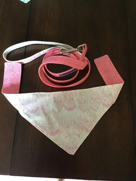 Pink Pug leash and neckerchief set reversible 4 ft long leash