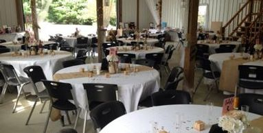 Country Wedding Barn, 12 round tables seating 8, white linens included.