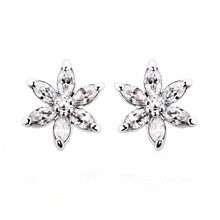 Flower Ear Stud Earrings Made With Zircon Crystal
