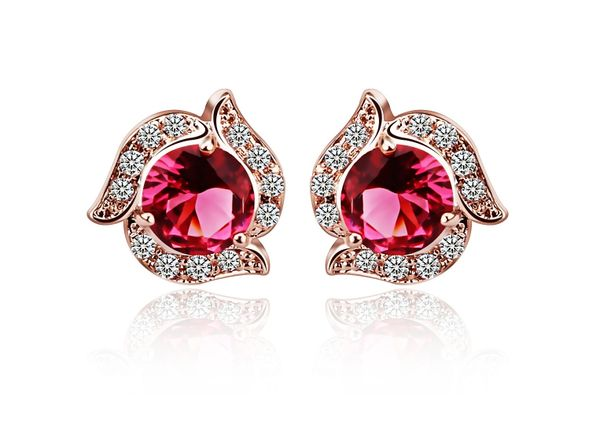 Indian Pink Stud Earrings Made With Zircon Crystal