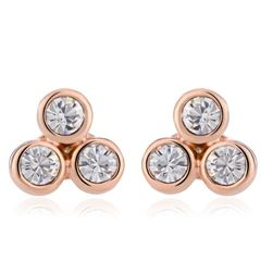 18K Gold Plated Stud Earrings Made With Crystals From Swarovski