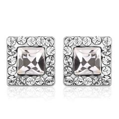 Big Square Stud Earrings Made With Crystals From Swarovski