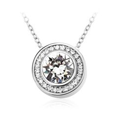 Round Crystal And Diamond Border Necklace Made With Crystals From Swarovski