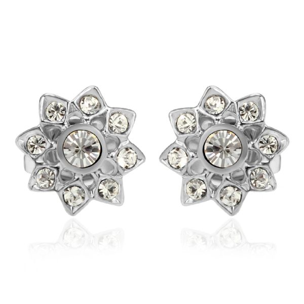 Rose Flower Shape Diamond Stud Earrings Made With Crystals From Swarovski