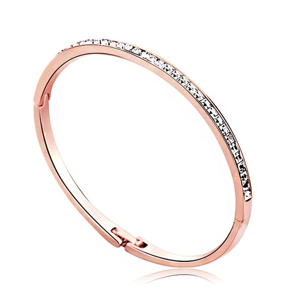 Rose Gold Bangle Made With Crystals From Swarovski