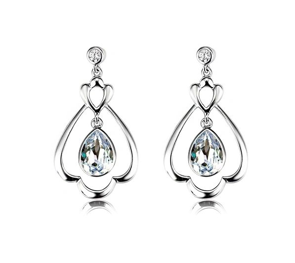925 Sterling Silver Dropping Earrings Made With Crystals From Swarovski