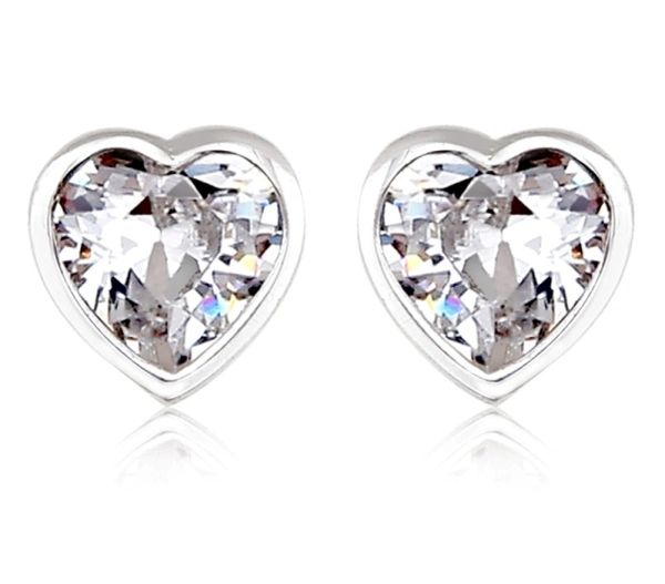925 Sterling Silver Heart Shape Stud Earrings Made With Crystals From Swarovski