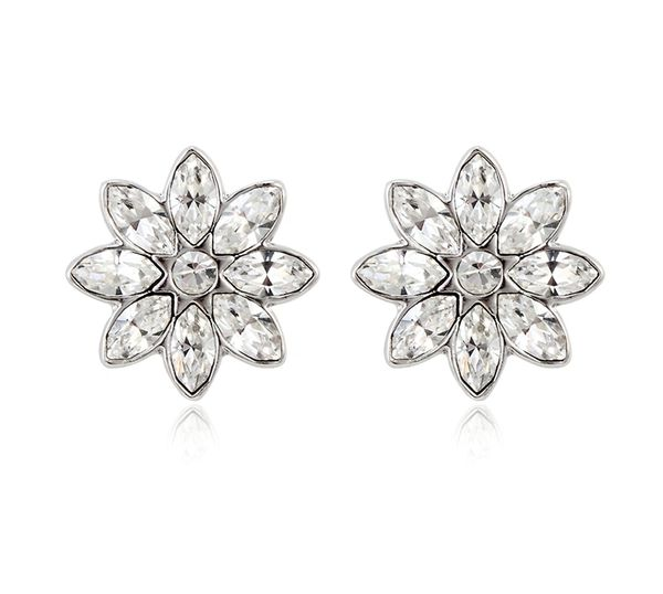 Flower Stud Earrings Made With Crystals From Swarovski