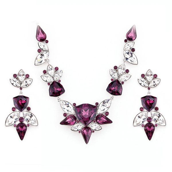 Elegant Purple Earrings & Necklace Set Made With Crystals From Swarovski