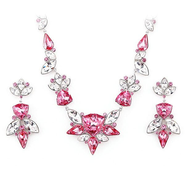 Elegant Red Earrings & Necklace Set Made With Crystals From Swarovski