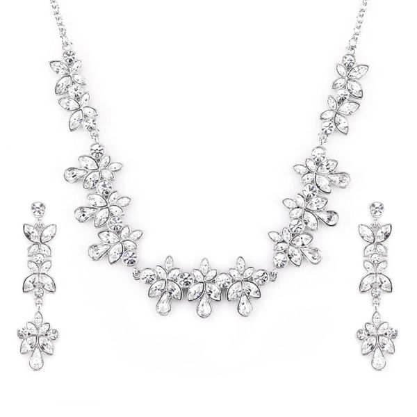 Classic Silver Earrings & Necklace Set Made With Crystals From Swarovski