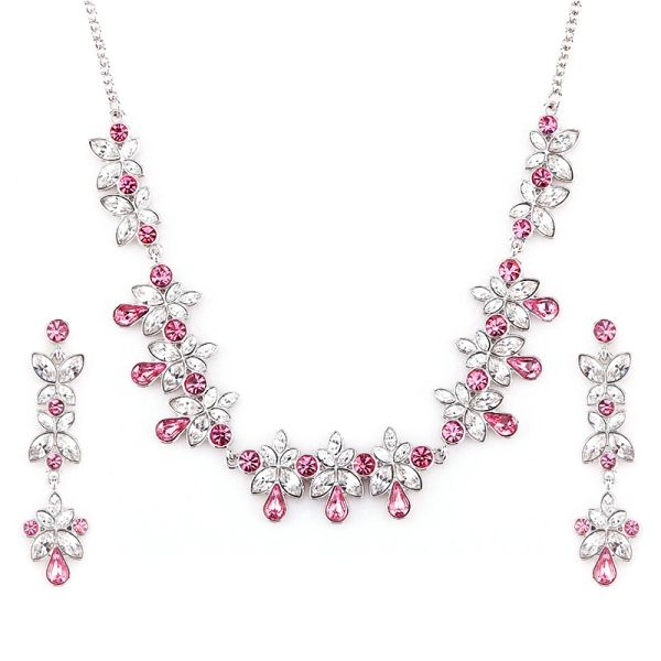 Classic Pink Earrings & Necklace Set Made With Crystals From Swarovski