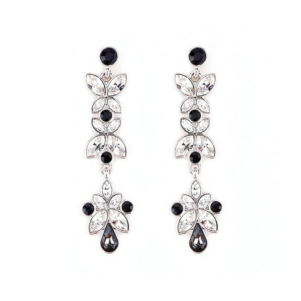 Classic Black Earrings Made With Crystals From Swarovski