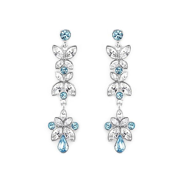 Classic Blue Earrings Made With Crystals From Swarovski