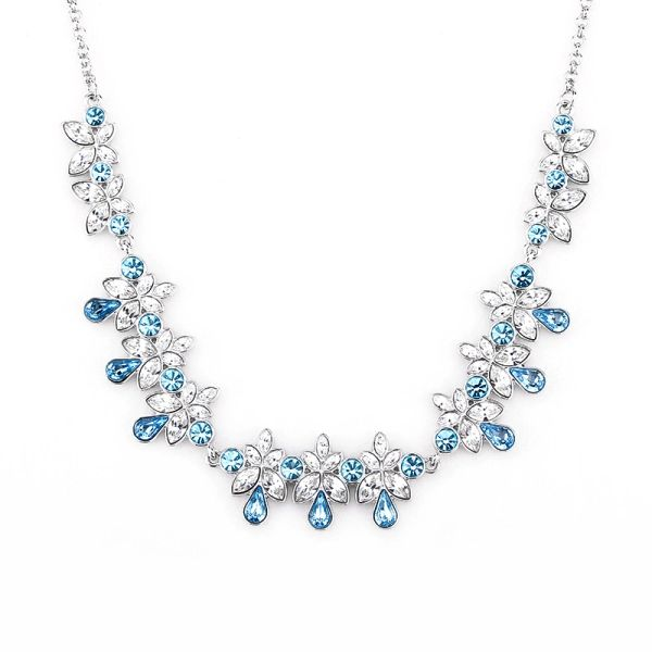 Blue Necklace Made With Crystals From Swarovski
