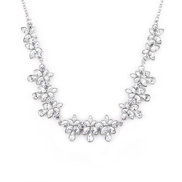 Classic Silver Necklace Made With Crystals From Swarovski