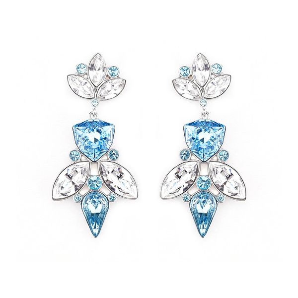 Elegant Blue Earrings Made With Crystals From Swarovski