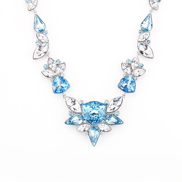 Elegant Blue Necklace Made With Crystals From Swarovski