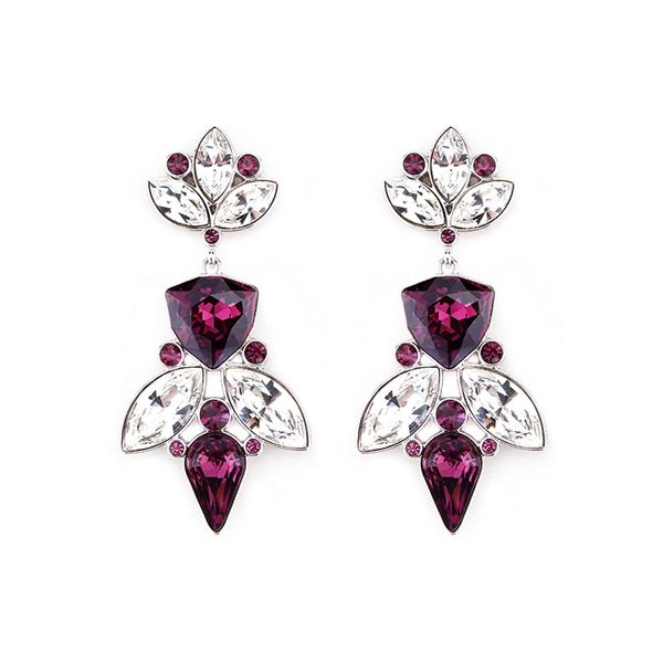 Elegant Purple Earrings Made With Crystals From Swarovski