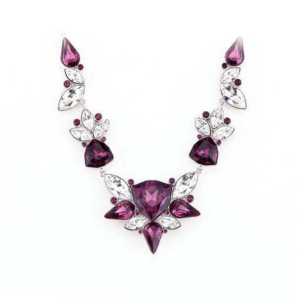 Elegant Purple Necklace Made With Crystals From Swarovski