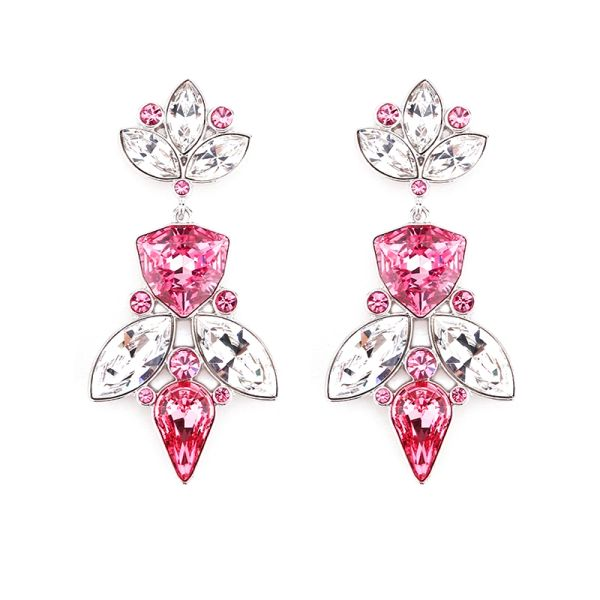 Elegant Pink Earrings Made With Crystals From Swarovski