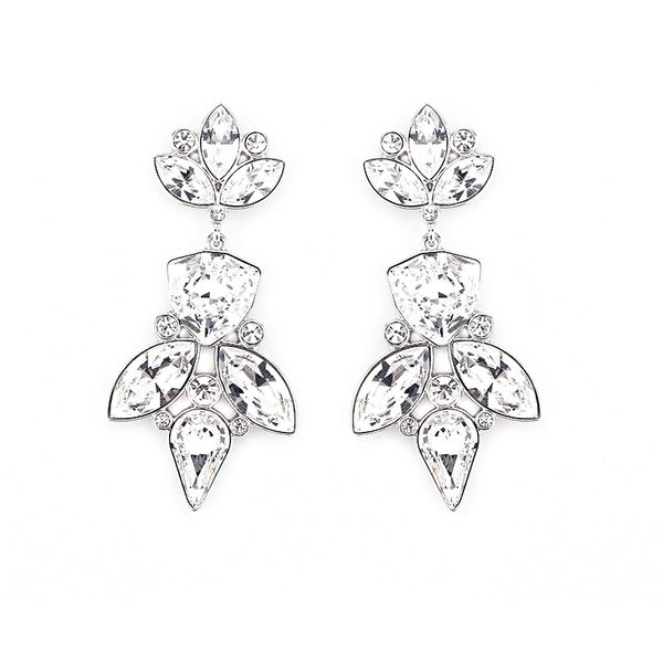 Elegant Silver Earrings Made With Crystals From Swarovski