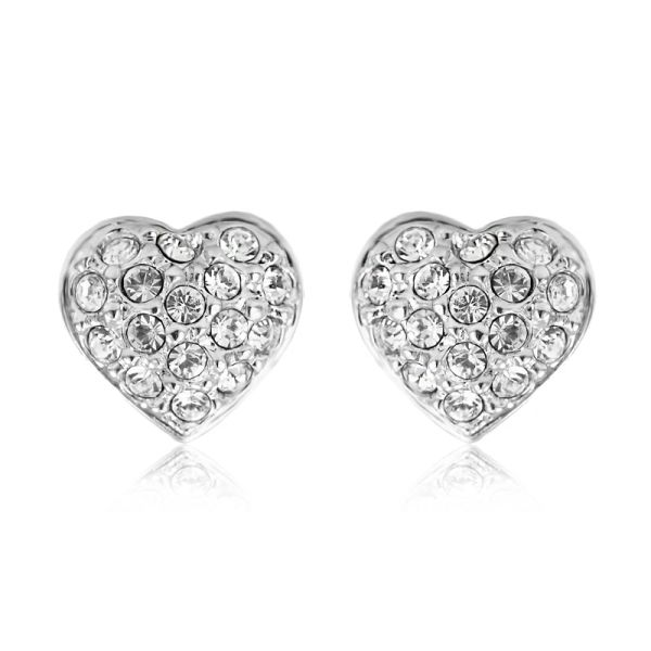Heart Shaped Earrings Made With Crystals From Swarovski